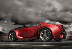 Sports car on the road stock image