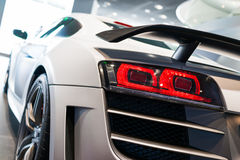 Sports car for sale. Audi R8 in showroom for sale royalty free stock photo