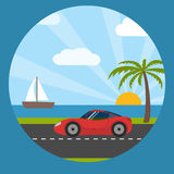 Sports car on the seaside Royalty Free Stock Photo