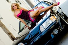 Sports Car Sexy Girl Blonde Stock Images
