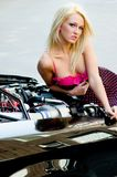 Sports Car Girl Blonde Royalty Free Stock Images