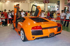 Sports car showed on Automobile Expo in Xiamen. A Lamborghini sports car was showed in an exhibition in Xiamen, which has attracted many citizens' eyeballs stock images