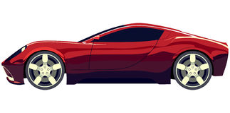Sports car. Side sports red car on a white background Stock Image