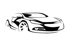 Sports car silhouette Royalty Free Stock Images