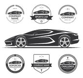 Sports car silhouette with the set of labels, emblems, logotypes. Stock Photos