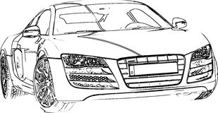 Sports Car Pencil Sketch Royalty Free Stock Photos