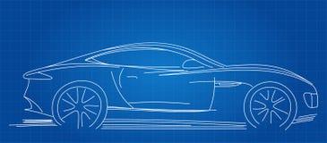 Sports Car Sketch. Blueprint Vector Illustration Royalty Free Stock Photo