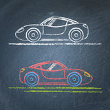 Sports car sketch on chalkboard Stock Photos