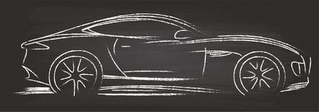 Sports Car Sketch. Vector On Blackboard Stock Image