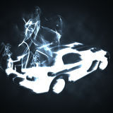 Sports car in the  smoke. Illustration of the sports car in the  smoke Royalty Free Stock Image