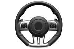 Sports car steering wheel. Close up image of modern sports car steering wheel Royalty Free Stock Photo