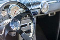 Sports car steering wheel. Classic cars on display during car show steering wheel Stock Photos