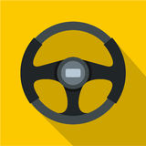 Sports car steering wheel icon, flat style stock illustration