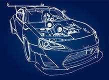 Sports car. Stock Illustration in the style of hand-drawn linear graphics. Sports car. Stock Illustration in the style of hand-drawn linear graphics Royalty Free Stock Photo