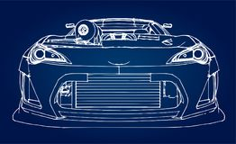 Sports car. Stock Illustration in the style of hand-drawn linear graphics. Sports car. Stock Illustration in the style of hand-drawn linear graphics Stock Photos