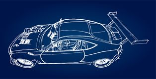 Sports car. Stock Illustration in the style of hand-drawn linear graphics. Sports car. Stock Illustration in the style of hand-drawn linear graphics Stock Photo
