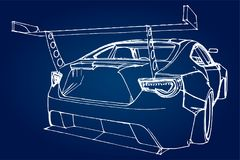 Sports car. Stock Illustration in the style of hand-drawn linear graphics. Sports car. Stock Illustration in the style of hand-drawn linear graphics Royalty Free Stock Photos