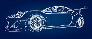 Sports car. Stock Illustration in the style of hand-drawn linear graphics. Sports car. Stock Illustration in the style of hand-drawn linear graphics Stock Image