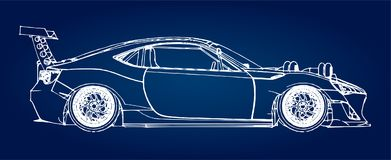Sports car. Stock Illustration in the style of hand-drawn linear graphics. Sports car. Stock Illustration in the style of hand-drawn linear graphics Royalty Free Stock Image