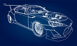 Sports car. Stock Illustration in the style of hand-drawn linear graphics. Sports car. Stock Illustration in the style of hand-drawn linear graphics Royalty Free Stock Photography