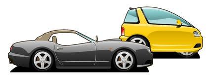 Sports car and tiny car. Royalty Free Stock Photos