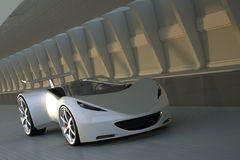 Sports car in tunnel. 3D silver sports car driving in tunnel Royalty Free Stock Photos