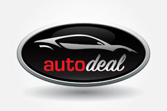 Sports car vehicle silhouette badge design Stock Image