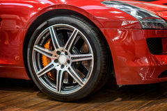 Sports car wheel. Close-up of sports car front wheel Stock Photos
