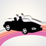 A sports car. White background with car and people Stock Images