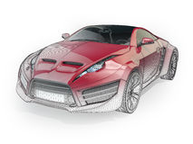 Sports car with a wireframe Royalty Free Stock Photos