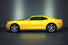 Sports car. Yellow sports car on black background Stock Image