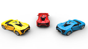 Sports Cars - Blue, Red and Yellow - back view Royalty Free Stock Image