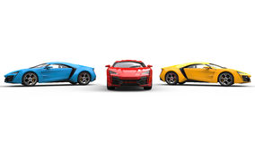 Sports Cars - Blue, Red and Yellow Stock Photos