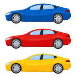 Sports cars in different colors. Vector illustration isolated on white Stock Image