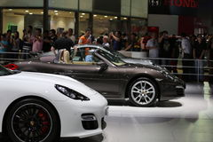 Sports cars on display at the auto show Royalty Free Stock Images