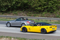 Sports cars on the highway in Germany Stock Photos