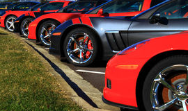 Sports Cars. Lineup of sports cars in dealers parking lot Royalty Free Stock Photos