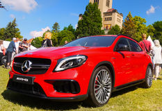 Sports Cars, Mercedes AMG. Red sports car - Mercedes AMG , front-side view. Sports cars, Motor Show - Legends Prague 2017 Stock Photos