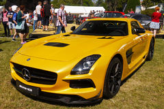 Sports Cars, Mercedes AMG. Yellow sports car - Mercedes AMG GT R, front-side view. Sports cars, Motor Show - Legends Prague 2017 Stock Photo