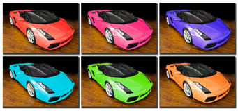 Sports cars pop art. Different colored sports cars . Like works of art hanging from a white wall, Pop art style stock photos
