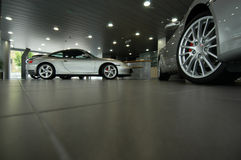 Sports cars in showroom Stock Photo