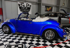 Sports Cars, Volkswagen Speedster. Blue sports car - VW Beetle Speedster, side view.  Motor Show - Legends Prague 2017 Stock Images