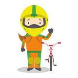 Sports cartoon vector illustrations: BMX Cycling (female) Stock Images