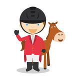 Sports cartoon vector illustrations: Equestrian Jumping Stock Photos
