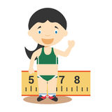 Sports cartoon vector illustrations: Long Jump (female) Stock Images