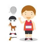 Sports cartoon vector illustrations: Modern Pentathlon Stock Photos