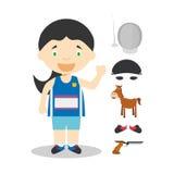 Sports cartoon vector illustrations: Modern Pentathlon (female) Royalty Free Stock Photography
