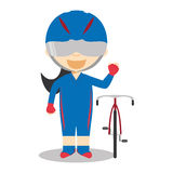 Sports cartoon vector illustrations: Track Cycling (female) Stock Photography