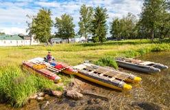 Sports catamarans on the shore of Lake Valdai in Russia Stock Photo
