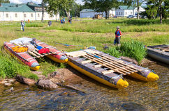 Sports catamarans on the shore of Lake Valdai in Russia Royalty Free Stock Photos